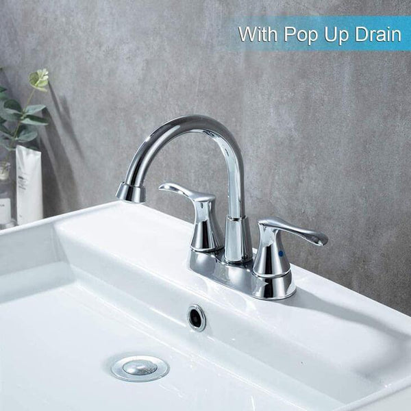 360° rotatable 2-handle Bathroom Centerset Chrome High Arc Bathroom Sink Faucet with Pop Up Drain HOMELODY - Homelody