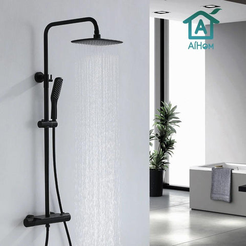 AiHom Thermostatic Black Shower Mixer System Set 38℃ with Shelf