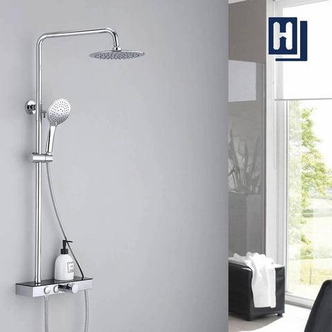 HOMELODY Chrome Bathroom Shower Mixer Set with Shelf
