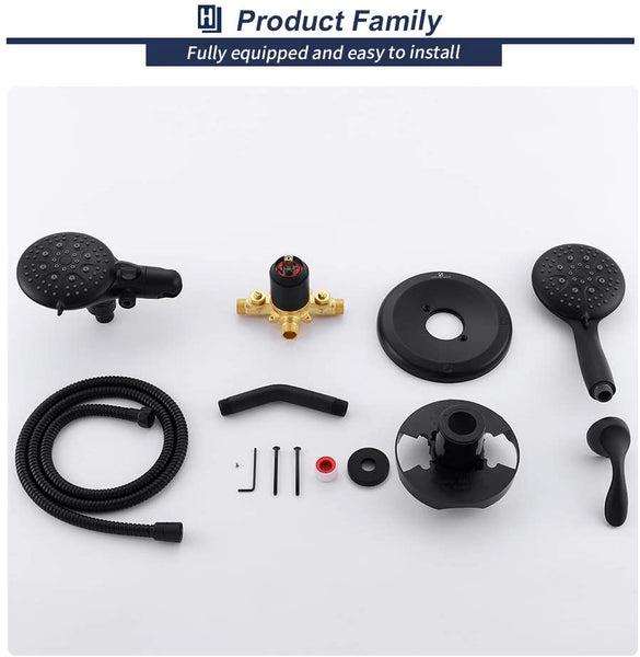 Matte Black High Pressure Shower System