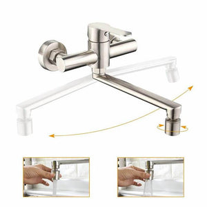 Best seller HOMELODY Kitchen Faucets Wall Sink Taps Double Spout Swivel 180 ° Mixer - Homelody