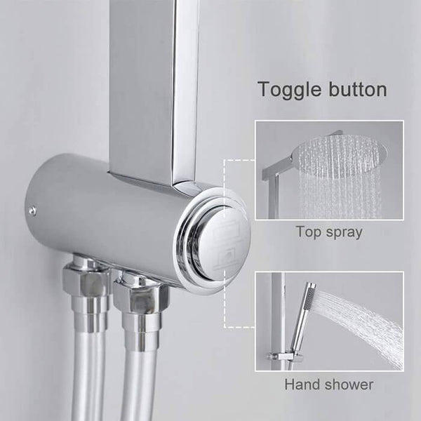 Brass square shower rod modern shower system shower set Homelody - Homelody