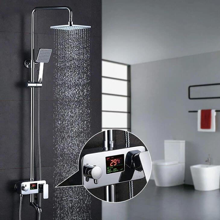 Brass + stainless steel Homelody LCD Digital Display Shower System Shower Faucet adjustable shower height - Homelody