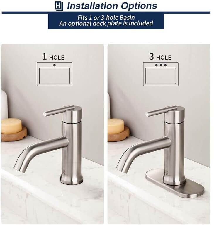 Deck Mount 304 Stainless Steel Bathroom Faucet Single Handle 1 Hole or 3 Hole Lavatory Faucet Brushed Nickel HOMELODY - Homelody