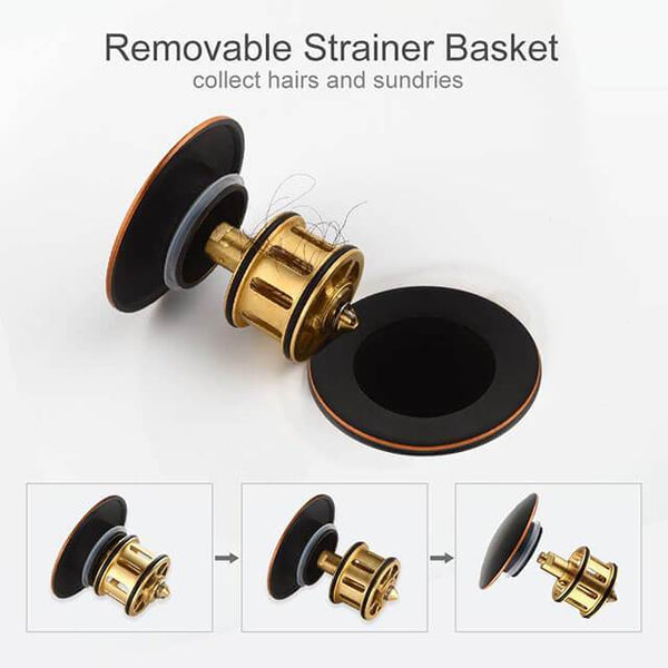 "HOMELODY 1 5/8"" Pop Up Drain Stopper Bronze without Overflow - Homelody"