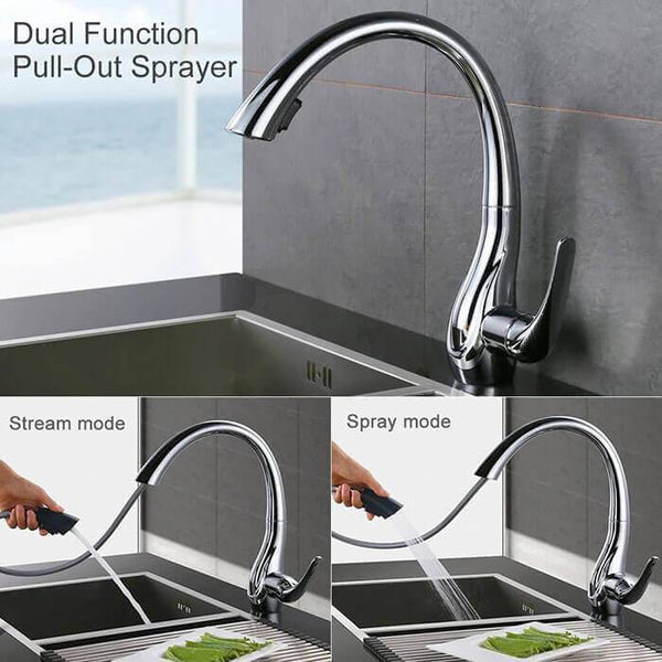 Homelody 2-Function Kitchen Faucet with 360° Swivel Spout and 2 Jets with Pull-Out Spray Head and Variable Flow - Homelody