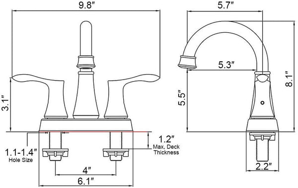 HOMELODY 2-Handle Bathroom Sink Faucet 4-inch Centerset, Oil Rubbed Bronze - Homelody