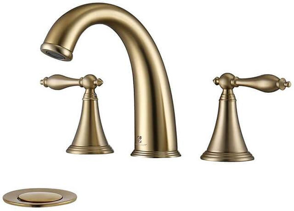 HOMELODY 2 Handle Centerset 8 Inch Bathroom Faucet, Brushed Gold - Homelody