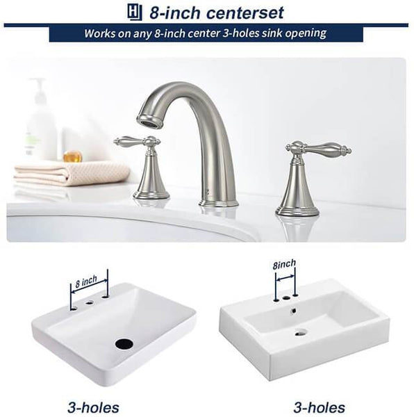 HOMELODY 2 Handle Centerset 8 Inch Bathroom Faucet, Brushed Nickel - Homelody