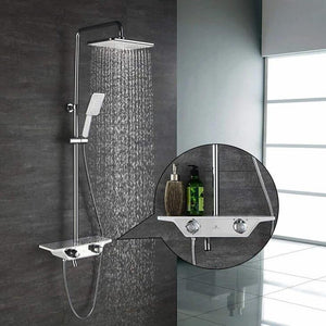 Homelody 3-function Thermostatic Shower System with Shelf for modern bathroom shower - Homelody