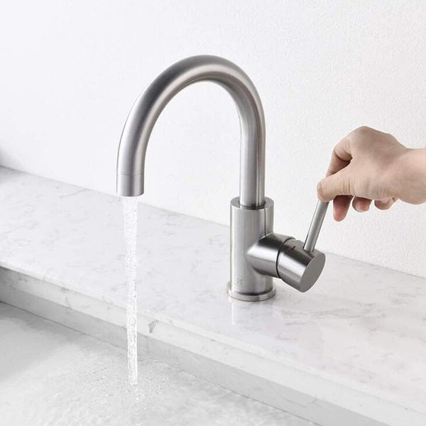 HOMELODY 304 Stainless Steel 360° Swivel Bathroom Faucet Brushed Nickel - Homelody