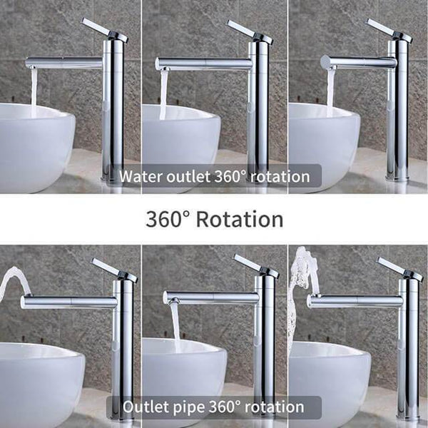Homelody 360° Brass Chrome-Plated Tall Bathroom Basin Faucet Pull up single handle mixer - Homelody
