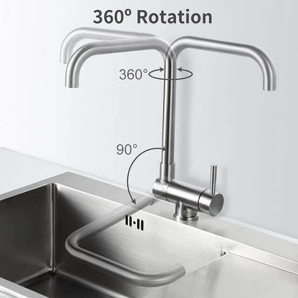 Homelody 360° Rotating Front Window Kitchen Faucet Foldable Stainless Steel Matt Sink Tap for Kitchen - Homelody