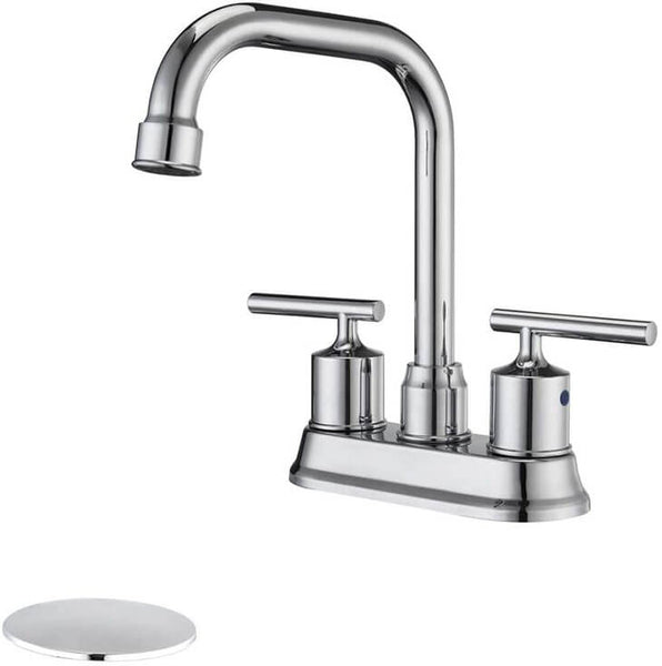 HOMELODY 360°Swivel Spout Lavatory Faucet with Drain Assembly, Chrome - Homelody
