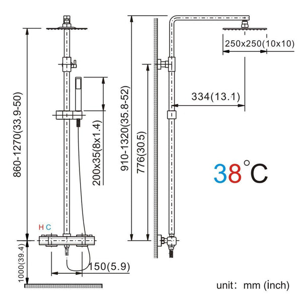 Homelody 38ºC Thermostatic Adjustable Shower Column Shower Set - Homelody