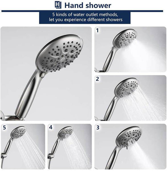 "Homelody 5"" High Pressure Rainfall Shower Combo,6-Setting Rain Shower Head&Handheld Shower Head, Brushed Nickel - Homelody"