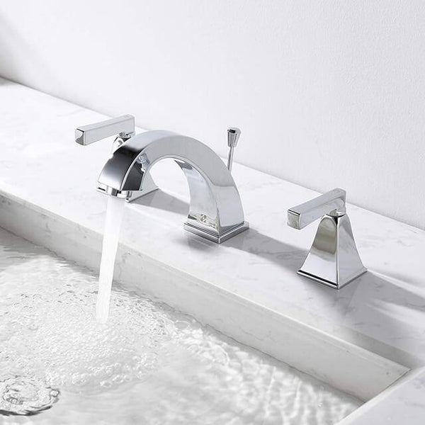 HOMELODY 8 Inch 2 Handle Bathroom Sink Faucet for 3 Hole, Chrome - Homelody