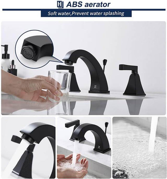 HOMELODY 8 Inch 2 Handle Bathroom Sink Faucet for 3 Hole, Matte Black - Homelody