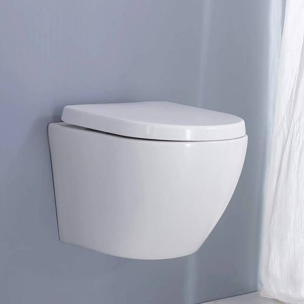 HOMELODY Bathroom Double Powerful Close Coupled Ceramic Wall Hung Toilet Seats Water Saving Anti-noise - Homelody