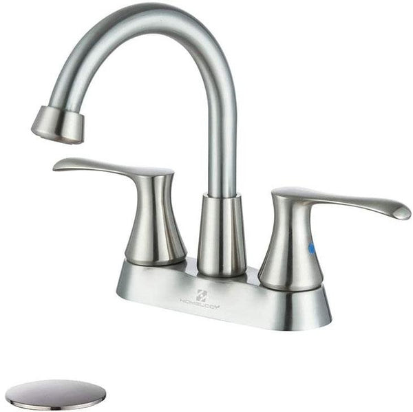 HOMELODY Bathroom Faucet 4 inches Lavatory Faucet Swivel Spout Centerset, Brushed Nickel - Homelody