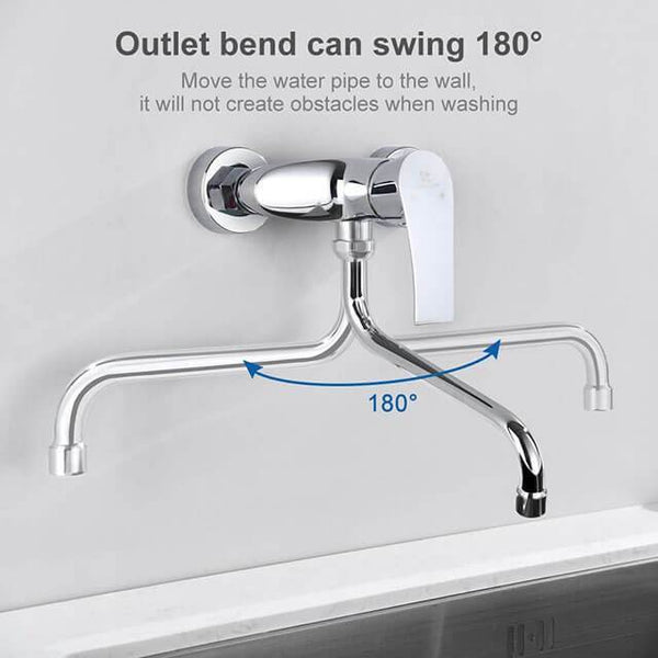 Homelody brass kitchen mixer Wall-mounted kitchen mixer for double sinks - Homelody