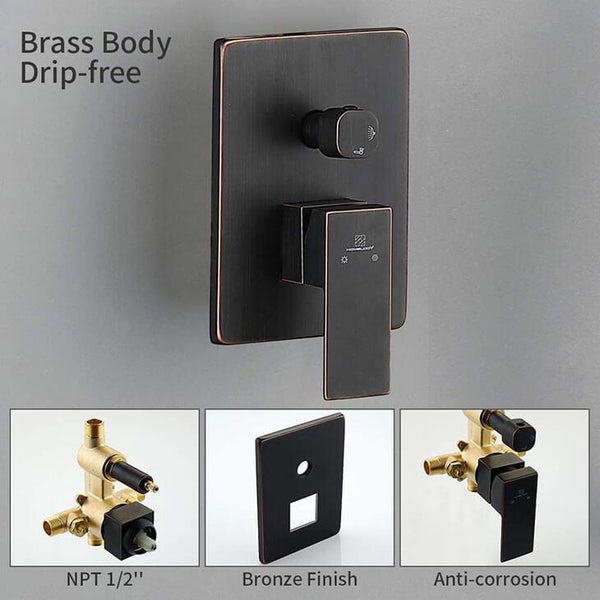 HOMELODY Bronze Shower Faucet Set (with Valve) Wall Mounted with High Pressure Rainfall Shower Head - Homelody