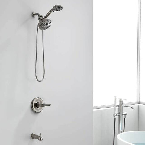 Homelody Brush Nickel Dual shower heads & Bathtub Combo Set - Homelody
