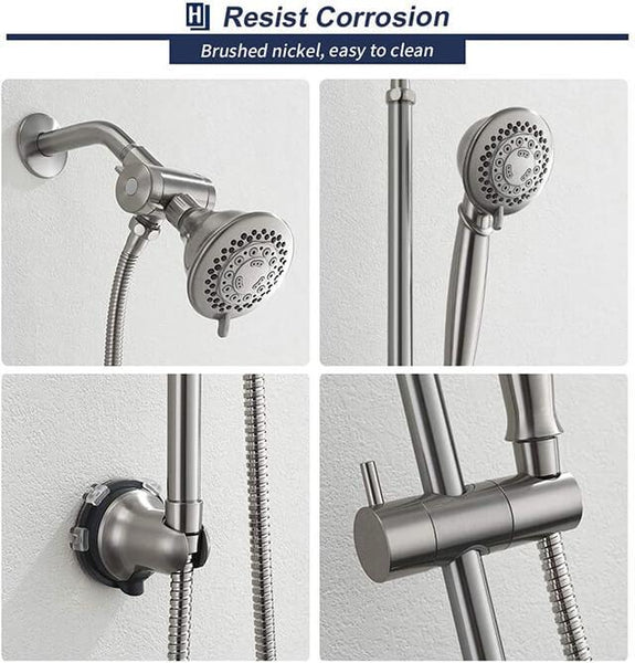 HOMELODY Brush Nickel Dual Shower Heads Set - Homelody