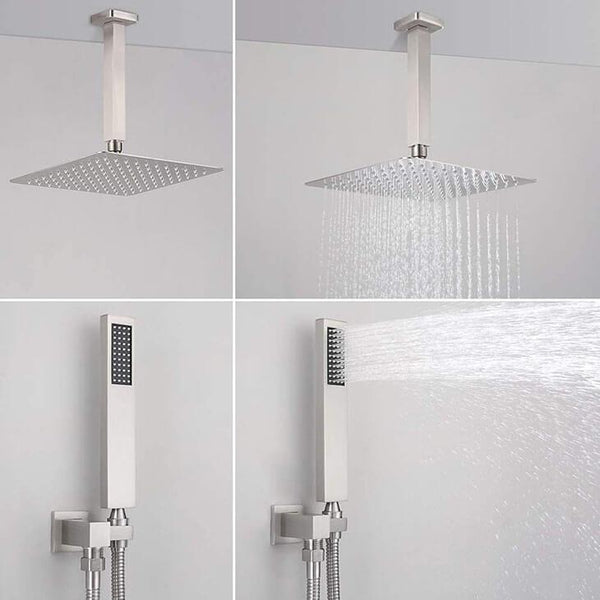 HOMELODY Brushed Nickel Shower Faucet Rough-in Valve Body with Rain Shower Head and Handheld Shower Head Combo - Homelody