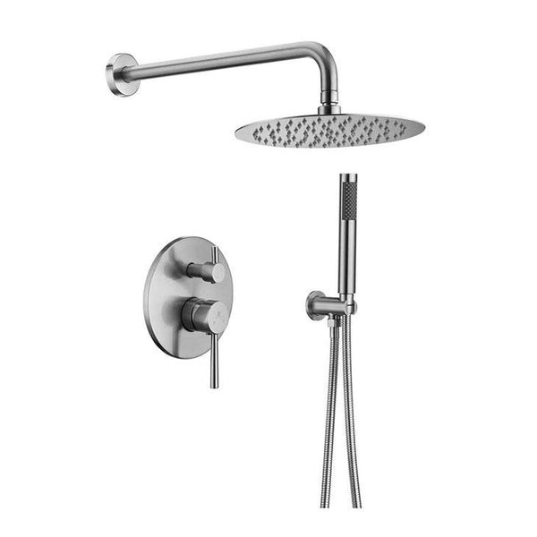 "HOMELODY Brushed Nickel Shower Faucet Set (Valve Included) with 10"" Roud Rainfall Shower head - Homelody"
