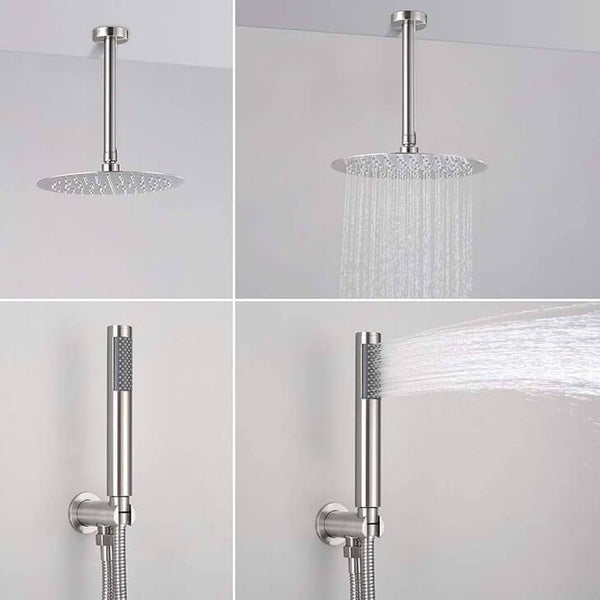 HOMELODY Ceiling Mount Shower Faucet with Pressure Balancing Valve, Brushed Nickel - Homelody