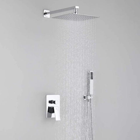 HOMELODY Chrome Bathroom Rain Mixer Shower Combo Set with Shower Faucet Valve - Homelody