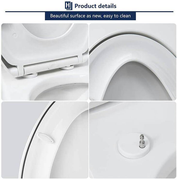 HOMELODY Elongated Toilet Seat White with Button - Homelody