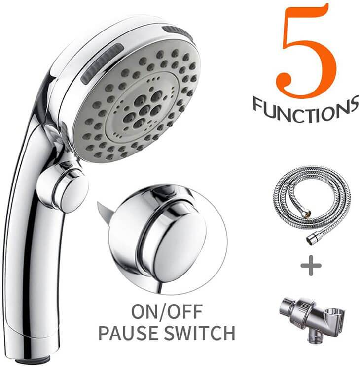 HOMELODY Handheld Shower Head with ON OFF Pause Switch, Chrome Finish - Homelody