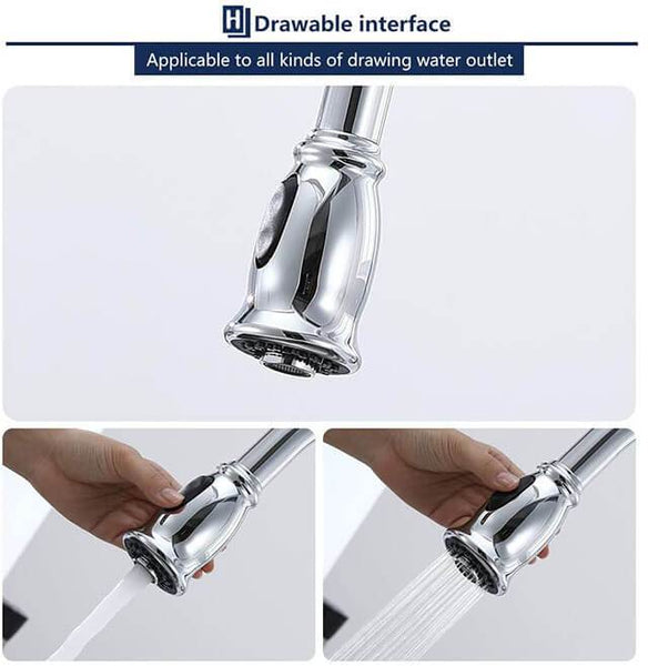 HOMELODY Kitchen Faucet Pull-Out Head Nozzle, Chrome - Homelody