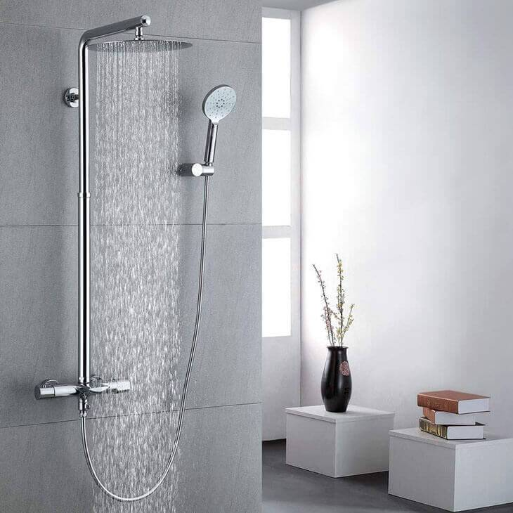 Homelody Luxury Bathroom Thermostat Shower Set Shower System with Round Overhead Shower - Homelody