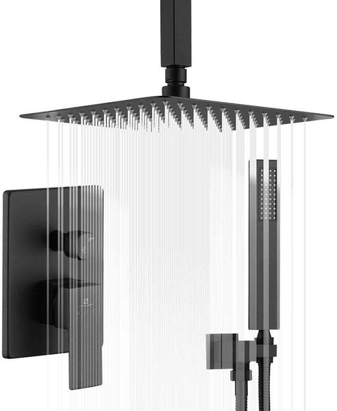 HOMELODY Matte Black Ceiling Shower Head System with Rough-in Valve Body - Homelody