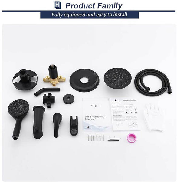 Homelody Matte Black Dual shower heads & Bathtub Combo Set - Homelody