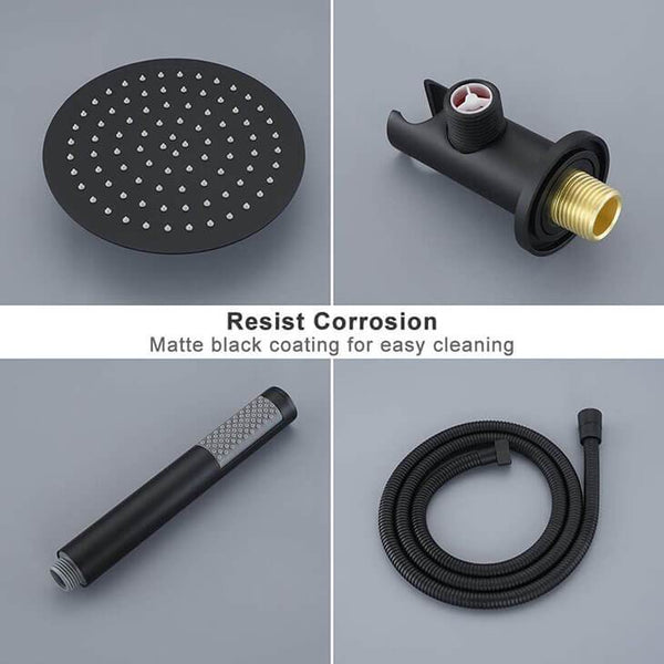 "HOMELODY Matte Black Shower System (Valve include) with 10"" Roud Rain Shower head - Homelody"