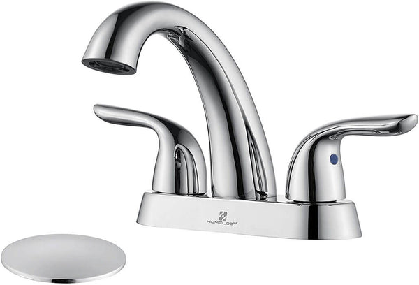 HOMELODY Polished Chrome Bathroom Faucet 2 Handle 4 Inch Centerset - Homelody