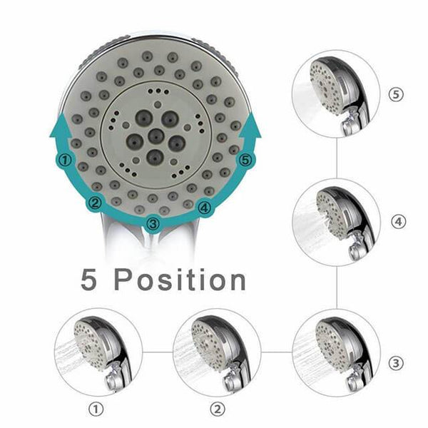 Homelody Shower Head 5 Functions Chrome Hand Shower - Homelody