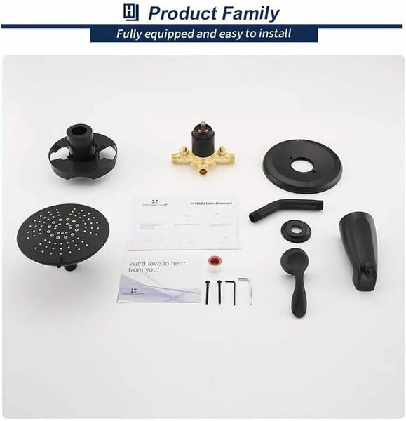 HOMELODY Single-Handle Shower Tub Kit Matte Black Shower Trim Kit (Valve Included) Shower Faucet Set with 5-Spray Shower Head - Homelody
