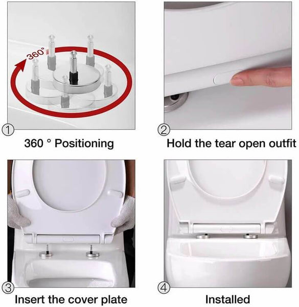 HOMELODY Soft Close White Toilet Seat Stainless Steel Hinges - Homelody
