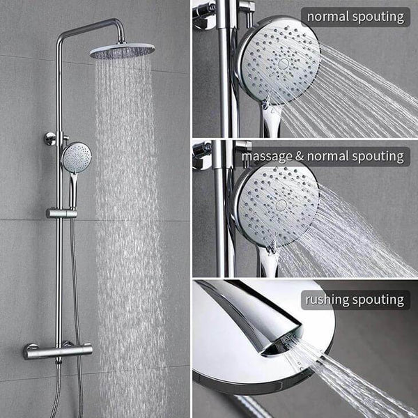 Homelody Thermostatic Shower System with 3 Jets Round Brass Shower for Bathroom - Homelody