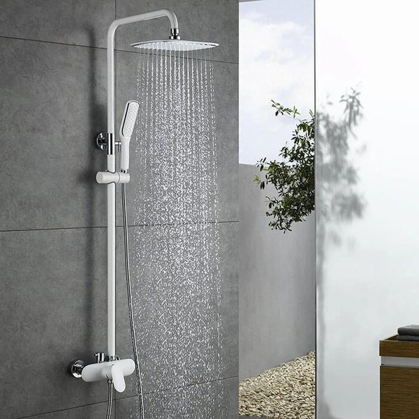 Homelody White Shower Set Mixer with Rainshower - Homelody
