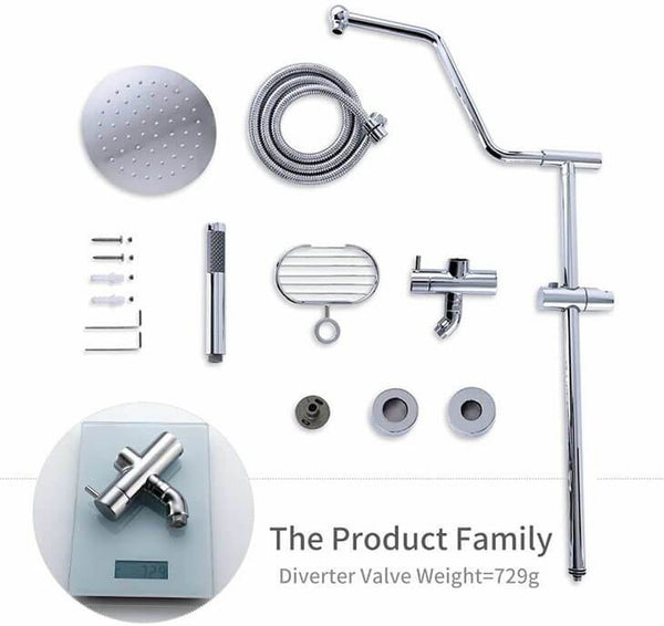 "Modern Fashion 8"" Stainless Steel Shower Systems Chrome with Rain Shower Adjustable Slide Bar HOMELODY - Homelody"