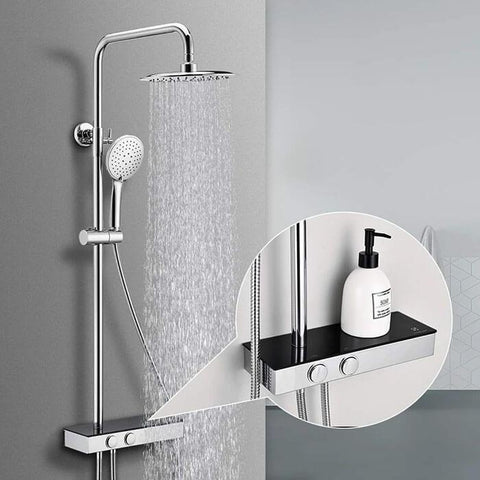 Modern round shower head adjustable shower rod Homelody shower system with shelves - Homelody