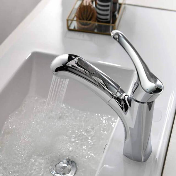 Single lever switch controls spray mode modern pull-out bathroom faucet with shower - Homelody