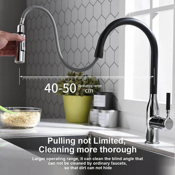 Stainless steel Homelody 360 ° black kitchen tap with retractable shower tap with switch - Homelody