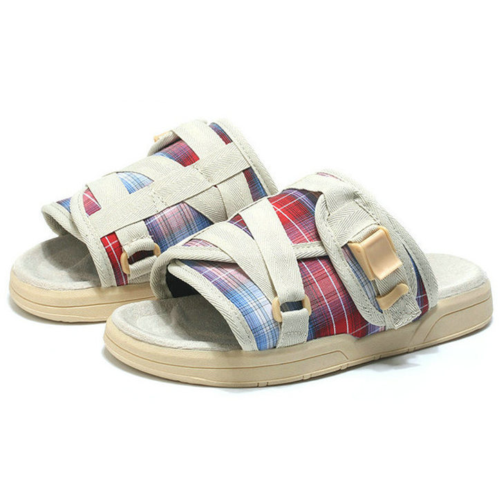 Multi Color Plaid BirkenSlides